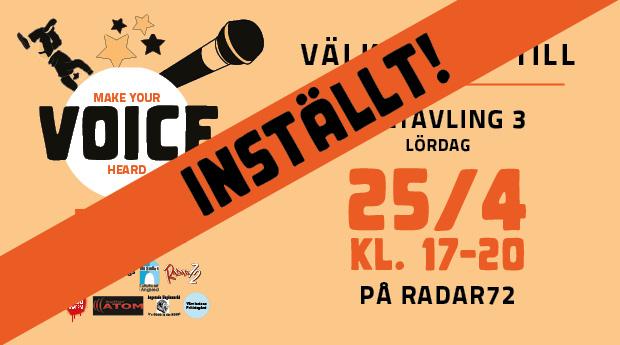 INSTÄLLT! VOICE Talangtävling på Radar72
